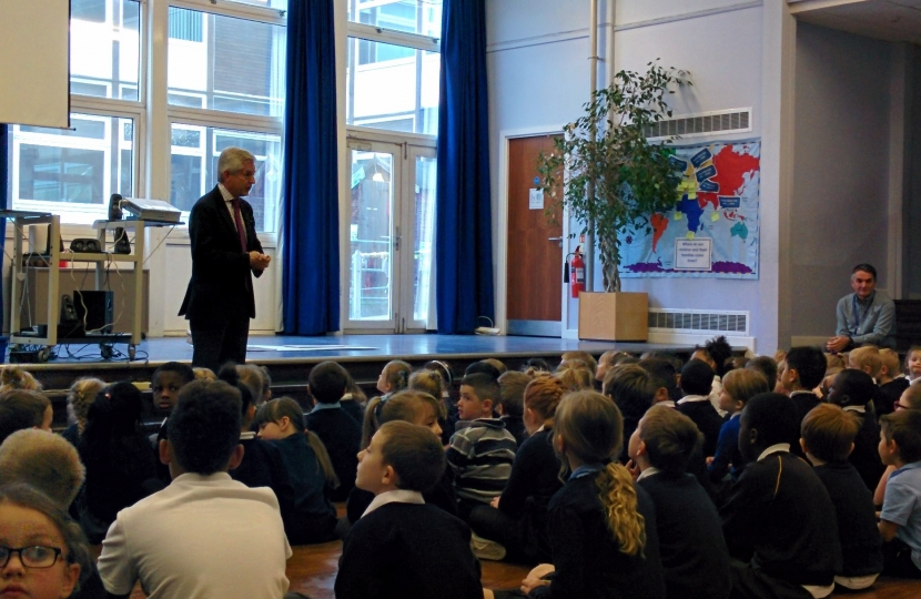 Richard at a Moat Primary School assembly