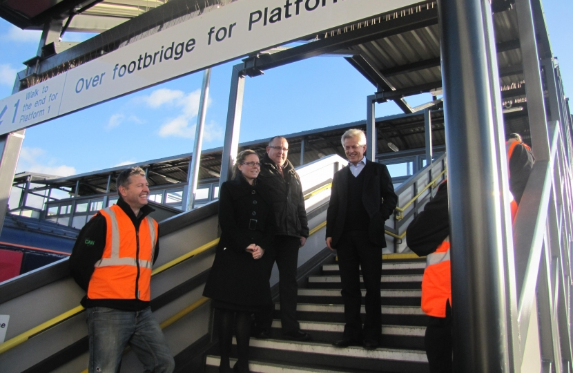 Richard opening the new canopy with station staff