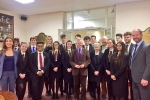 Richard with pupils from the Crypt School